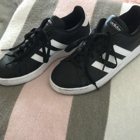 Adidas Black White Three Striped Shoes